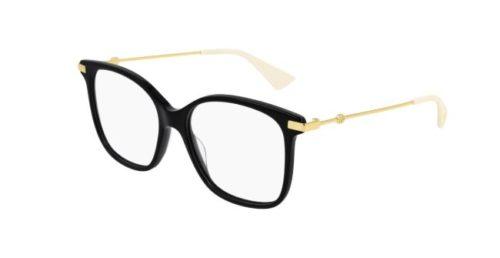 Gucci GG0512O 001 black gold transparen 52 Akinių rėmeliai Moterims