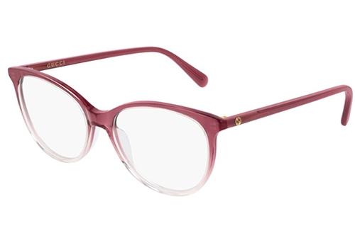 Gucci GG0550O 007 red burgundy transpar 53 Akinių rėmeliai Moterims